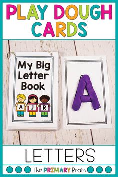 Teach how to form letters using alphabet play dough mats. These letter play dough cards are put together to form a play dough book. It is perfect for fine motor development in kindergarten and preschool. Plus, kids love hands on activities to learn letter names and sounds! Teach letter names and sounds while also learning to write letters in this pre-academic activity.