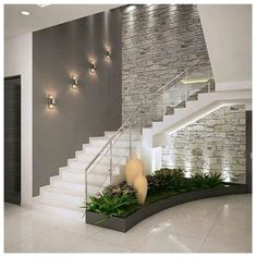 Add the mid-century decor touch to your home interior design project! Minimalist House Design, Minimalist Home, Modern House Design, Modern Interior Design, Interior Design Living Room, Staircase Wall Decor, Modern Staircase, Staircase Ideas, Home Stairs Design