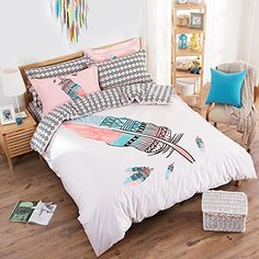 TheFit Paisley Bedding for Adult U153 Boho Pink Feather Duvet Cover Set 100% Cotton, Queen Set, 4 Pieces