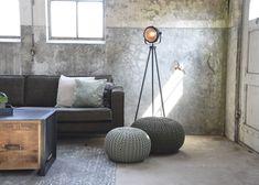 LABEL51 - Poef Gebreid 70x70x35 cm L - Landelijk - Donkergrijs Couch, Throw Pillows, Living Room, Design Ideas, Furniture, Home Decor, Instagram, Settee, Toss Pillows