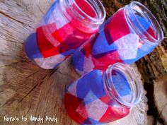 Here's to Handy Andy: Patriotic Jar Lanterns---kids could make Fourth Of July Food, 4th Of July Fireworks, 4th Of July Party, July 4th, Patriotic Crafts, July Crafts, Holiday Activities, Craft Activities, Jar Art