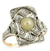 Edwardian Pearl and Diamond Ring $1,495.00  (size 3.25???!)
