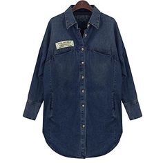 Aiyig Vintage Women's Long Sleeve Casual Jean Denim Shirt Tops Blouse Jacket ** Check out this great product.