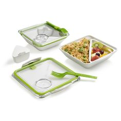 Box Appetit Lunch boxes.  A removable inner dish separates food—and can be removed for microwaving—while a small sauce pot holds condiments and dressings.