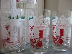 50's Christmas Glasses Santa's Workshop North Pole by whimzeesnest, $14.00