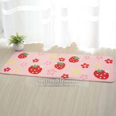 Ultra-thin carpet cute strawberry mats doormat anti-skid mat kitchen living room 45 * 120 - Taobao