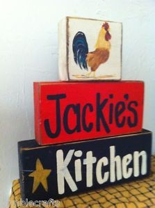 Free Primitive  lables roosters | ... Sign Stacking Wood Blocks Primitive Rooster Counter Decor | eBay