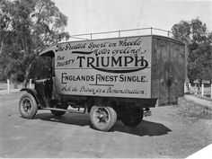 Triumph Truck - Old Trucks - Indian Motorcycles, Triumph Motorcycles, Triumph Motorbikes, British Motorcycles, Triumph Bonneville, Triumph Logo, Triumph T120, Antique Motorcycles, Motorcycle Posters