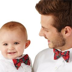 An ADORABLE gift for baby and Daddy! No age is too young for an introduction to classic style, and these plaid baby boy gifts are an ideal first step. The large bowtie is a classic, and the small replica comes with adjustable Velcro to keep everyone comfy.