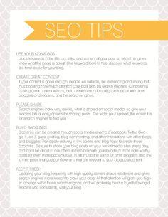 SEO Tips Printable