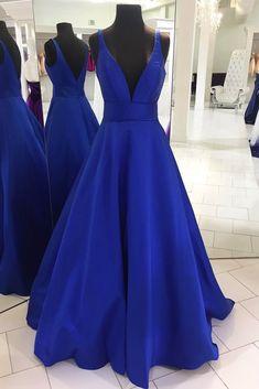 Royal Blue Prom Dresses Long,Princess Prom Dresses V-neck,Elegant Prom Dresses Open Back,Satin Prom Dresses Sleeveless Royal Blue Prom Dresses, Princess Prom Dresses, V Neck Prom Dresses, Blue Evening Dresses, A Line Prom Dresses, Bridesmaid Dresses, Dress Prom, Party Dresses, Long Dresses