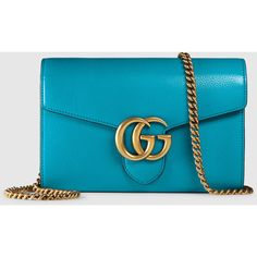 Gucci gg marmont leather chain wallet ($1,400) ❤ liked on Polyvore featuring bags, wallets, handbags, mini bags, turquoise, genuine leather bag, top handle bag, hardware bag, blue bag e gucci