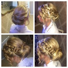 Bridal formal updo. Sleek and sophisticated with a big bun and braid