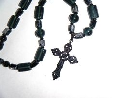 "Black cross pendant necklace, mixed black glass beads 18.1/2"" long (47cm)"
