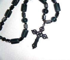"Black cross pendant necklace, mixed black glass beads 18.1/2"" long (47cm)"