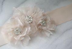 Pale Blush Pink Bridal Belt, Wedding Sash, Rhinestone Bridal Sash -  ASHLEY. $100.00, via Etsy.