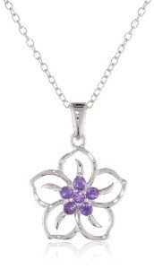 """Amazon.com: Sterling Silver and Amethyst Flower Pendant Necklace, 18"""": Jewelry"""