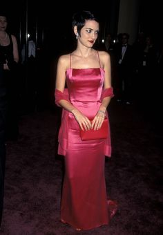 Actress Winona Ryder attends the Annual American Film Institute Lifetime Achievement Award Salute to Martin Scorsese on February 1997 at Beverly Hilton Hotel in Beverly Hills, California. Get premium, high resolution news photos at Getty Images Pink Satin Dress, Satin Gown, Satin Dresses, Strapless Dress Formal, Gowns, Formal Dresses, Red Satin, 90s Fashion, Fashion Models