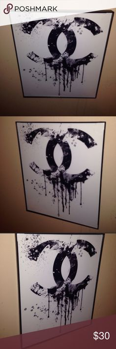 "Chanel cc drip , print framed 😍💄💍 Chanel ""cc drip"" art with picture frame . ""TILE ART"" 8"" inches x 10"" inches ( not a poster ) . Long gone are the days of 1 big bob Marley poster on the wall. 2017 art is neat , different , eye catching . These art tiles light 🔥 up any room ! Looks hot alone or grouped ! Each measures 8"" inches x 10""inches ( just bigger than the palm of a mans hand ) .  Show your style beyond your clothes ! 5"" x 7"" available message me . chanel  Makeup"