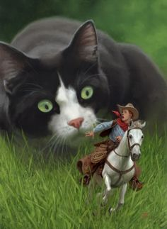 """""""Return of the Indian Yearling"""" - Tristan Elwell {contemporary fantasy art giant cat animals cowboy painting} These work great for Story Starters / Picture Prompts. Photo Writing Prompts, Writing Pictures, Writing Topics, Narrative Writing, Teaching Writing, Writing Activities, Giant Cat, Creative Writing Ideas, Writers Notebook"""
