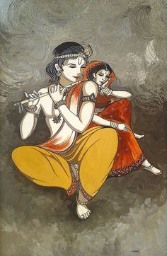 Radha Krishna 2 Art Print by Alpana Lele. All prints are professionally printed, packaged, and shipped within 3 - 4 business days. Choose from multiple sizes and hundreds of frame and mat options. Radha Krishna Images, Lord Krishna Images, Krishna Pictures, Krishna Radha, Shiva Hindu, Hanuman, Krishna Painting, Krishna Drawing, Fairy Tail Drawing