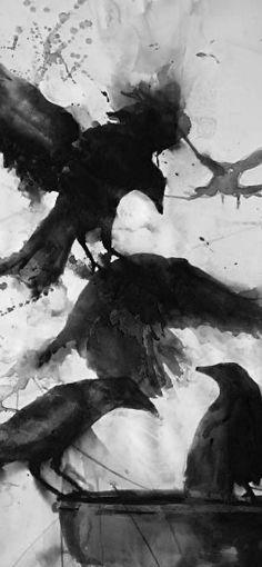 Crow Art, Raven Art, Bird Art, Fantasy Kunst, Fantasy Art, Beautiful Creatures, Rabe Tattoo, Aquarell Tattoos, Watercolor Bird