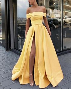 A Line Off the Shoulder Satin High Slit Yellow Prom Dresses, Long Formal Dresses. - A Line Off the Shoulder Satin High Slit Yellow Prom Dresses, Long Formal Dresses Source by althofftobias - Pretty Prom Dresses, Hoco Dresses, Cute Dresses, Beautiful Dresses, Amazing Dresses, Sexy Dresses, Yellow Prom Dresses, Summer Dresses, Wedding Dresses