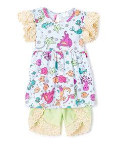 Yellow & Pink Mermaid Tunic & Lace-Trim Shorts - Toddler & Girls