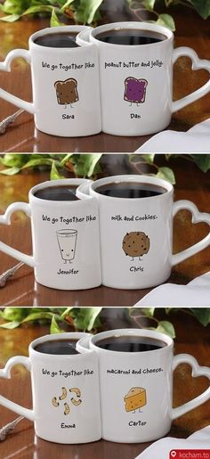 offee Mugs and Coffee Cups by Gift Mugs. Personalized Coffee Mugs by Gift Mugs. White, Ceramic Coffee Mugs, Custom imprinted and personalized Photo Coffee Cute Coffee Mugs, Coffee Love, Tea Mugs, Coffee Cups, Drink Coffee, Couples Coffee Mugs, We Go Together Like, Couple Mugs, Cute Cups