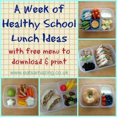 Eats Amazing - A week of healthy balanced packed lunch ideas with free downloadable menu