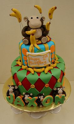 http://cakedecoratingcoursesonline.com/cake-decorating/ Monkey Themed Birthday Cake: Looking for #Best #Birthday #Cake? - Learn How to #Decorate Cakes - Visit Online Cake Decorating Classes on http://CakeDecoratingCoursesOnline.com