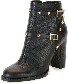 Black Chunky Heels, Black Heel Boots, Black High Heels, High Heel Boots, Bootie Boots, Shoe Boots, Valentino Boots, Valentino Garavani Shoes, Valentino Black