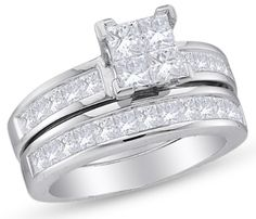 14K White Gold Invisible Set Princess Cut Diamond Bridal Engagement Ring and Matching Wedding Band Two 2 Ring Set - Square Princess Shape Center Setting - (1.00 cttw.)
