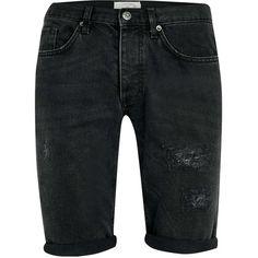 TOPMAN Black Rip Skinny Denim Shorts ($44) ❤ liked on Polyvore featuring men's fashion, men's clothing, men's shorts, shorts, men, men's apparel, mens clothing, mens shorts, mens cotton shorts and organic cotton men's clothing