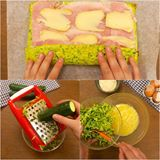 Prima grattugia la zucchina e la unisce con le uova. Il risultato è da leccarsi i baffi :D