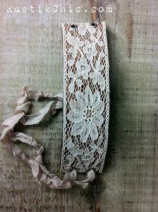 Wide Antique Lace Ribbon Leather Cuff from Rustik Chic Lace Cuffs, Leather Cuffs, Leather And Lace, Fabric Bracelets, Lace Bracelet, Cuff Bracelets, Jewelry Party, Jewelry Crafts, Jewelry Ideas