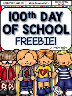 """100th Day of School """"Would You Rather"""" game.  This game gets students moving around the room as they make choices between 2 different 100 day options. (Would you rather have 100 pieces of bubble gum or 100 scoops of ice cream?) SEE THE COMPLETE 100th DAY OF SCHOOL UNIT HERE:100th Day of School Easy Prep CentersThank you for visiting my store and downloading this freebie!"""