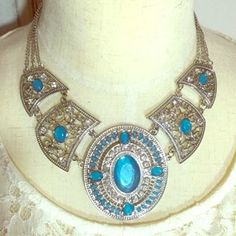 NEW Silver Statement Necklace With Blue Stones Stunning piece, great for the holiday season. This detail will make any simple outfit pop. Not real silver or stones. Brand new, never used, adjustable chain. Make an offer Zone Jewelry Necklaces