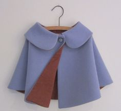 SALE Toddlers Wool Cape vintage style by OneMe on Etsy Dresses Kids Girl, Toddler Girl Outfits, Baby Outfits, Kids Outfits, Cute Baby Clothes, Diy Clothes, Baby Girl Fashion, Kids Fashion, Kids Dress Patterns