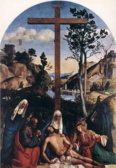 Deposition (Lamentation) - Giovanni Bellini.  c.1515.  Oil on canvas.  444 x 312 cm.  Gallerie dell'Accademia, Venice, Italy.