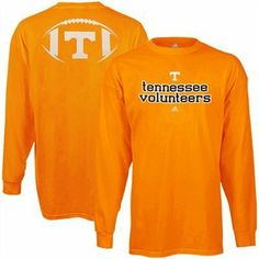 Tennessee Volunteers adidas Backfield Long Sleeve Football T-Shirt by adidas. $17.99. Screen print graphics. Lightweight ribbed long sleeve shirt. 100% Cotton. Rib-knit collar & cuffs. So here you are. After spending hours online looking for that perfect Vols game day shirt, you finally came upon the Backfield tee from adidas. Well now you can sit back and relax because your search is officially over. With a printed team name on the front and a large team logo wit...