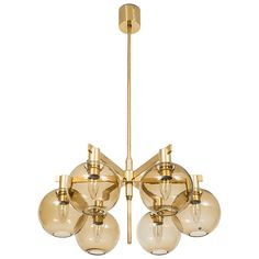 Hans-Agne Jakobsson Ceiling Lamp in Brass and Glass, circa 1950s