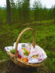 Picnic basket in the Finnish forest.