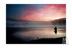 Fishing Early In The Morning Art Print by Val Thoermer at Art.com