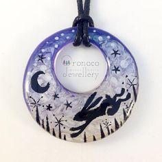 Moon gazing hare necklace moon hare pendant fantasy