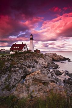 Portland Head Light at sunset, Cape Elizabeth, Maine