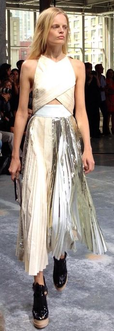 ~Metallic pleated skirt at NYFW SS 2014 Proenza Schouler | House of Beccaria#