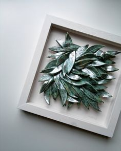 LEAVES, ceramic wall art, wall hanging, home decor, ceramic tile, verdigris, silver, celadon green and white, Irish pottery by karoArt. €82.00, via Etsy.