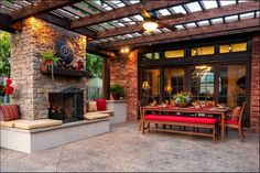 Convert your backyard to a place-to-be by building an outdoor fireplace. See these inspiring outdoor fireplace designs and be the envy of the neighborhood. Outdoor Pergola, Outdoor Rooms, Outdoor Living, Outdoor Patios, Modern Pergola, Backyard Pergola, Outdoor Areas, Concrete Patios, Wood Patio