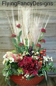 Red, Rust, Cream, Burgandy Silk Floral Flower Arrangement Tuscan Rustic Western in Home & Garden | eBay